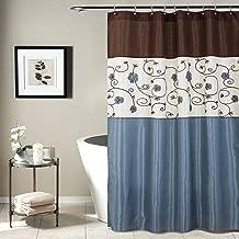Lush Decor Royal Garden Shower Curtain | Fabric Floral Color Block Stripe Neutral Bathroom Decor, 72