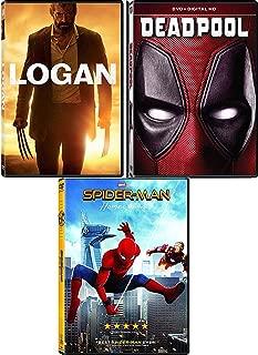 Comics To The Big Screen: Spider-Man Homecoming + Deadpool + Logan Triple Feature Mega DVD Superhero Pack