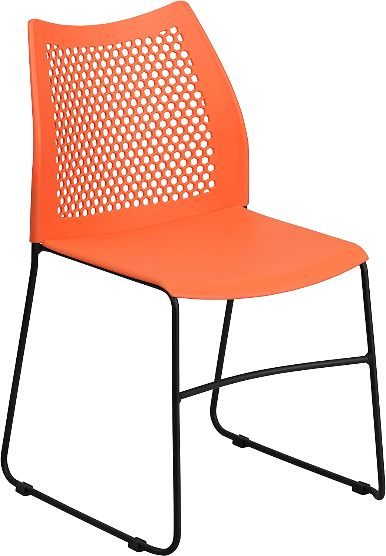 Flash Furniture RUT-498A-orange-GG HERCULES Series 661 Lb. Capacity orange Sled Base Stack Chair with Air-Vent Back