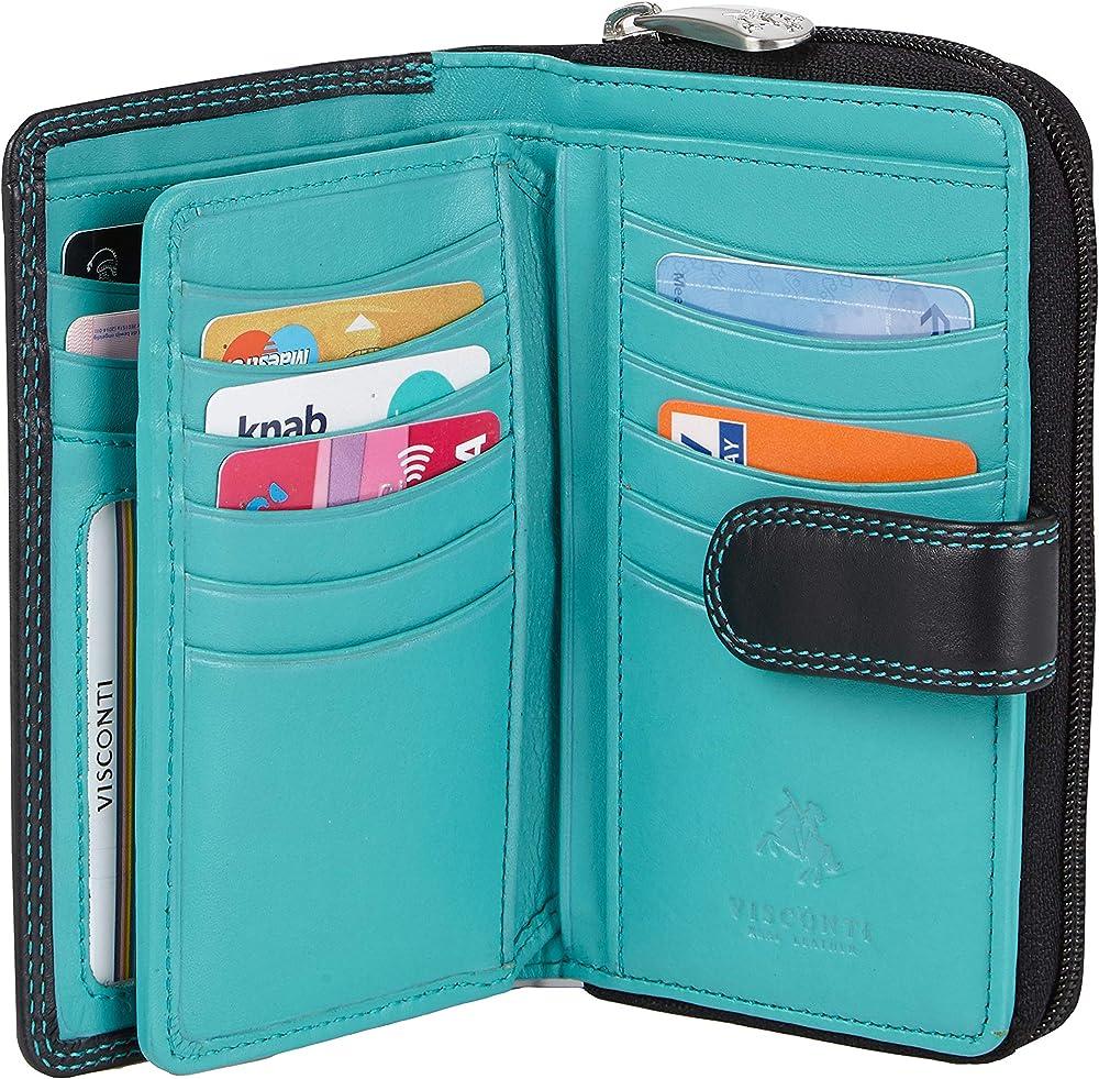 Visconti ® portafoglio donna porta carte di credito in vera pelle con protezione rfid Nero Turchese