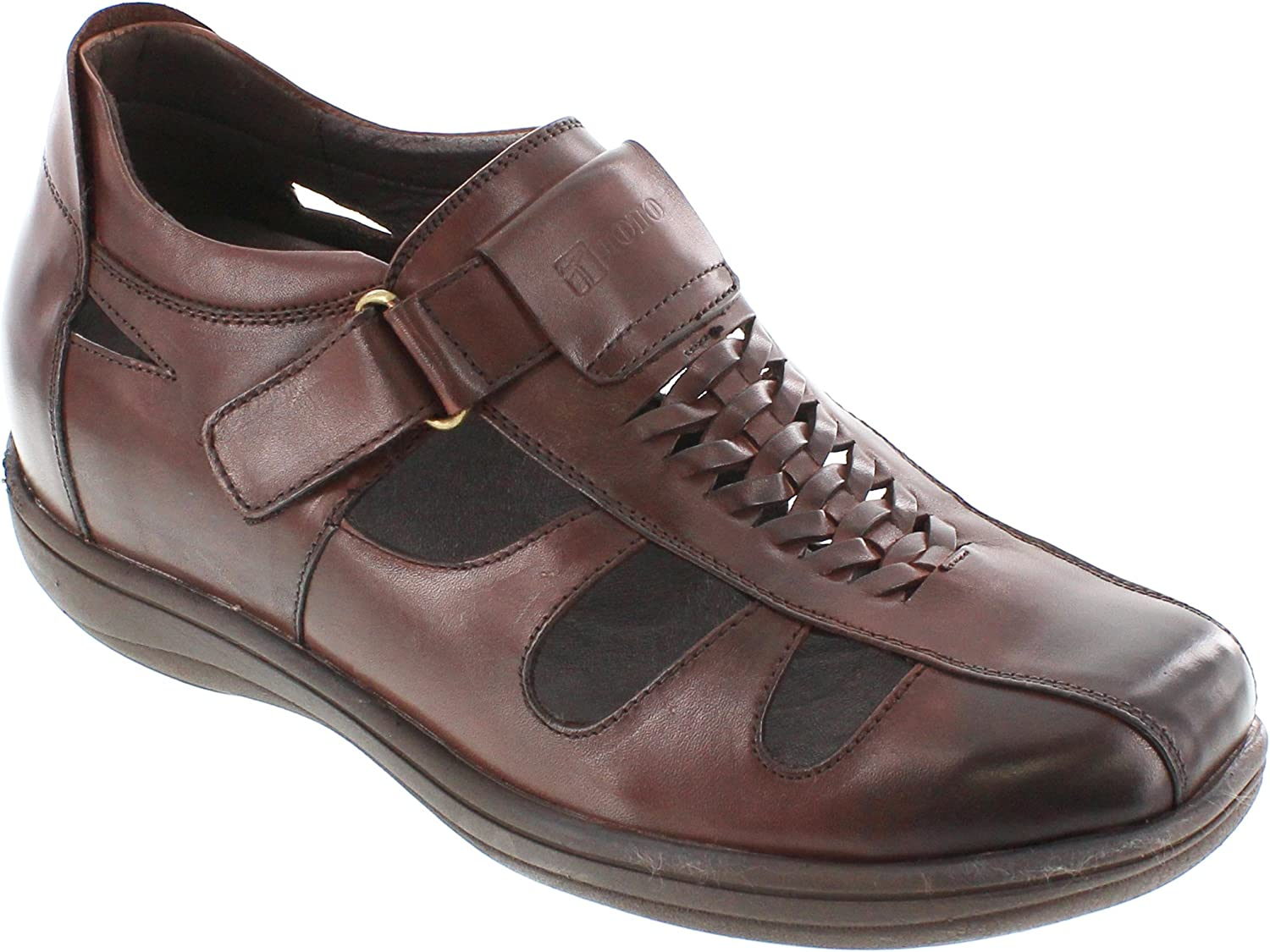 TOTO - G13072 - 3.2 Inches Taller - Height Increasing Elevator shoes (Dark Brown open-toe Sandals)
