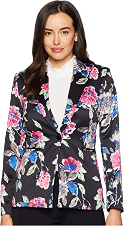 One-Button Printed Satin Floral Jacket