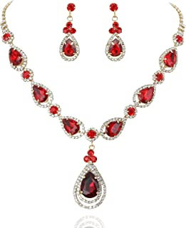 Women's Elegant Crystal Teardrop Fashion Statement Necklace and Stud Post Dangle Earring Set
