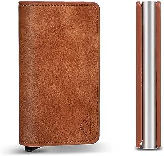 Idoviva Mens Wallet Card Holder Brown RFID Leather Pop Up Wallet Auto Aluminum Slim Pocket Business Card Case Tan