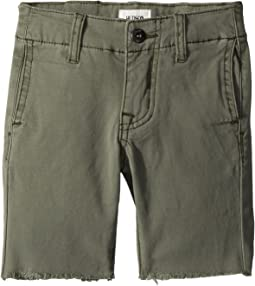 Raw Hem Sateen Chino Shorts in Green Ash (Toddler/Little Kids/Big Kids)