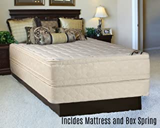 Mattress Solution, 14-Inch Firm Foam Encased DoubleSided Eurotop Pillowtop Innerspring Mattress and 8-Inch Semi Flex Box Spring/Foundation Set, Good for Back, Extra Pedic Collection, Queen Size