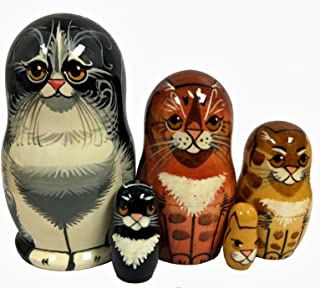 Home and Holiday Shops House Cats 5 Piece Wood Russian Nesting Doll Pet Animal Stacking Dolls Russia