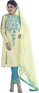 CREAM AND BLUE CASUAL STRAIGHT CUT STYLE SUIT