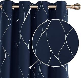 Deconovo Cortinas Salon Modernas Aislantes Térmicas de de Rayas con Ollados 2 Piezas 132 x 138 cm Azul Marino