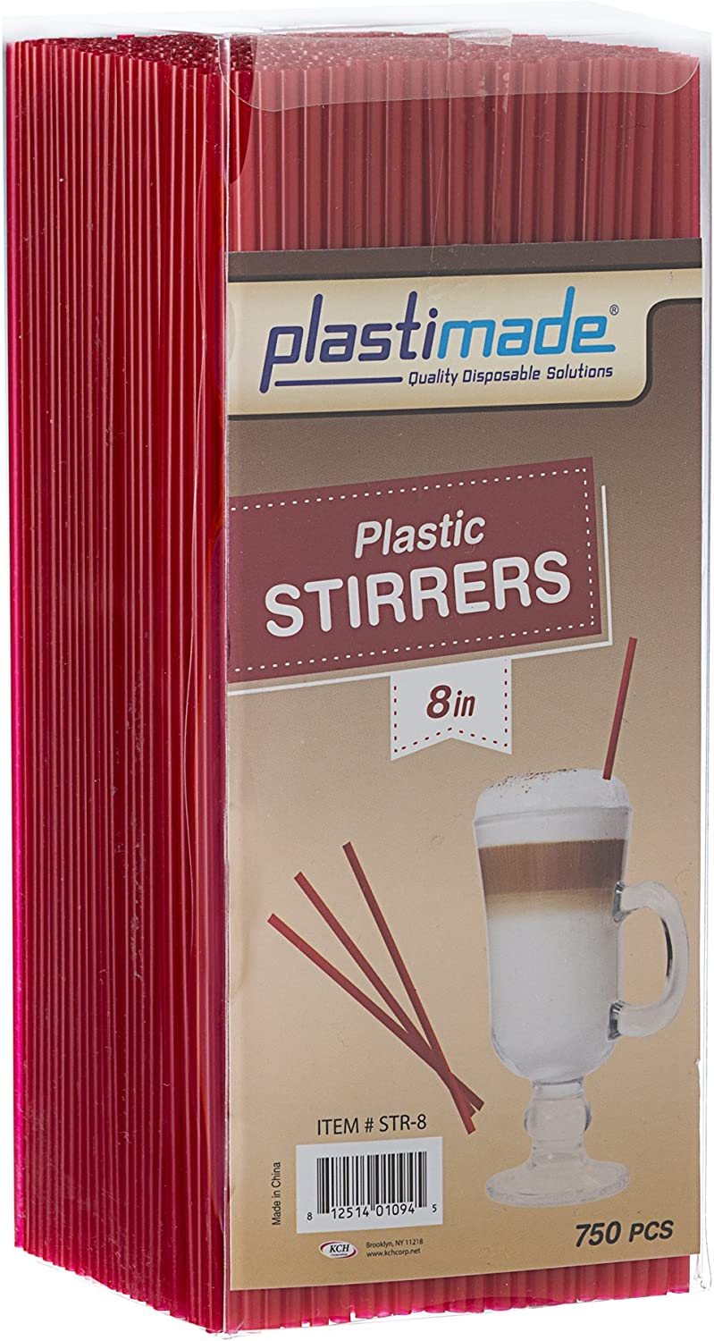 8-Inches Plastic Stirrers Red Sip Stirrers by Tezzorio Latte and Tea Pack of 1000 Disposable Stirrer Straws for Cocktail Coffee