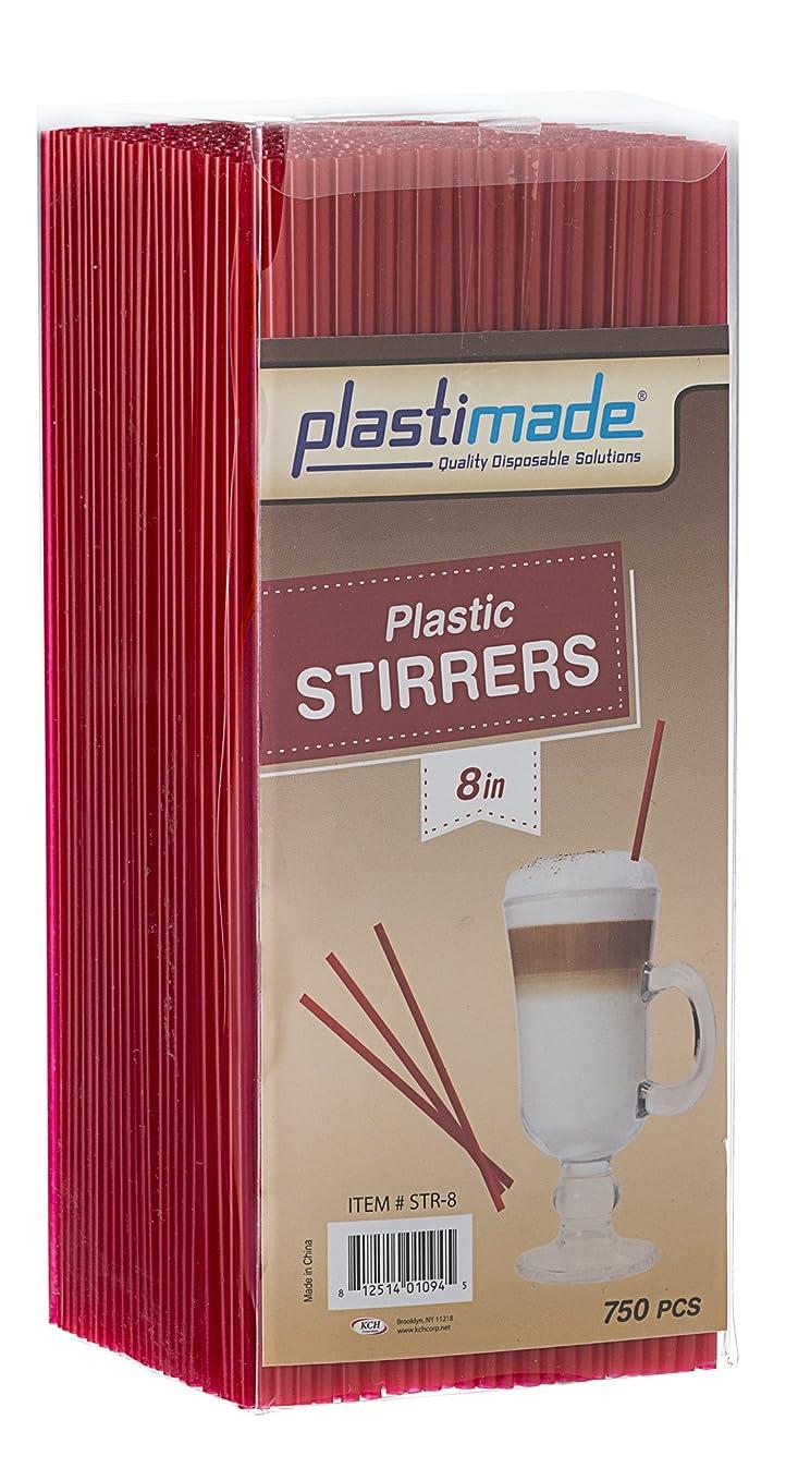 Plastimade Plastic Sip Stirrers 8 Inch 750/box, Red