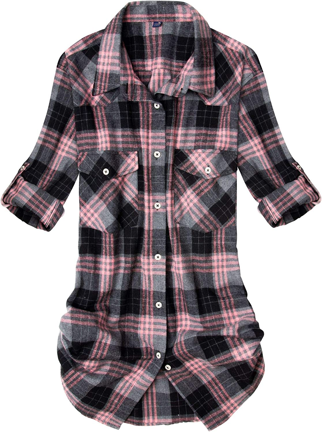 Alimens & Gentle Women's Flannel Plaid Shirt Long Sleeve Roll Up Button Down Casual Shirts