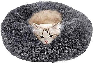 Warm Comfort Plush Round Donut Pet Bed, Soft Comfortable Nest Sleeping Cushions with Anti-Slip Bottom for Medium Large Cat...