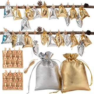 Advent Calendar Gift Bags Countdown Advent Calendar Garland Sacks Christmas Countdown 2020 Gift Bags with Drawstring Small Jewelry Bags Pouches Sacks Christmas Party Favor Bags with 24 Wood Number Cl