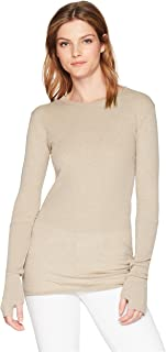 Enza Costa Women's Cashmere Long Sleeve Cuffed Crew Top with Thumbholes