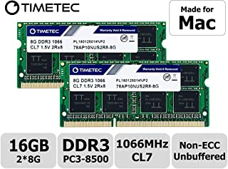 Timetec Hynix IC 16GB Kit (2x8GB) Apple DDR3 PC3-8500 1066MHz Memory Upgrade For iMac 20 inch /21.5 inch/24 inch /27 inch, MacBook Pro 13 inch/ 15 inch/ 13 inch, Mac mini 2009 2010 (16GB Kit (2x8GB))
