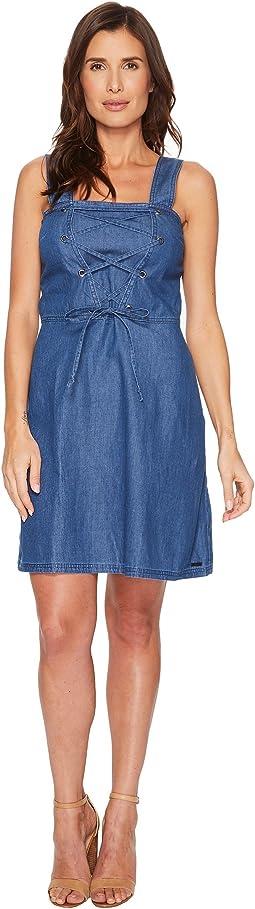 Lace-Up Denim Dress