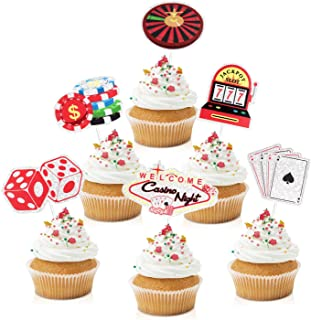 18pcs Casino Party Cupcake Toppers - Las Vegas Night Party Glitter Lucky Charm Jackpot Cupcake Supplies - Adults Men Birth...