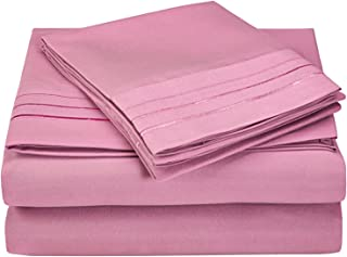 Superior 3-Line Embroidered Sheets, Luxurious Silky Soft, Light Weight, Wrinkle Resistant Brushed Microfiber, King Size 4-...