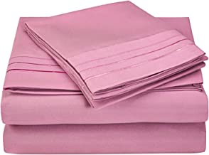 Superior 3-Line Embroidered Sheets, Luxurious Silky Soft, Light Weight, Wrinkle Resistant Brushed Microfiber, California King Size 4-Piece Sheet Set, Pink