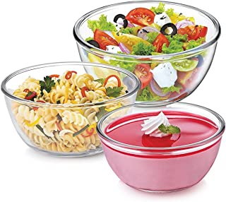 Treo Borosilicate Microwave Safe Mixing Glass Bowl , 500, 1000, 1500 ml ,White - Combo of 3