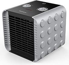 HeiPard Calefactor Portátil Eléctrico,PTC Elemento de Cerámica Ventilador Calefactor de Aire Caliente 1500W / 750W / 5W con Viento Calor y Natural,3 Configuraciones de Temperatura (Plata)