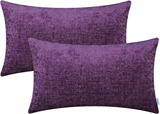Best CaliTime Pack of 2 Cozy Pillow Covers Cases for Couch Sofa Home Decoration Solid Dyed Soft Chenille 12 X 20 Inches Plum Purple Review