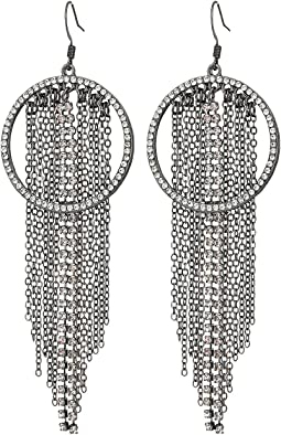 GUESS - Pave Ring Drop with Chain and Rhinestone Fringe Earrings