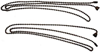 Ceiling Fan Pull Chain Set (Each 3 Feet) - Two 36 inch Oil Rubbed Bronze Ceiling Fan Chain Extenders - #6 Ball Chain with Bell-Shaped Ceiling Fan Pull Chain Ornaments - 2 Chains Included