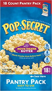 Pop Secret Popcorn, Movie Theater Butter, 3 Ounce Microwave Bags, 18 Count Pantry Pack