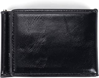 Tri Fold Money Clip Midnight Black 4.5 x 3.25 Faux Leather Classic Wallet