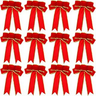 WILLBOND 12 Pieces 9.8 x 7.5 Inch Christmas Tree Bows Christmas Wreath Bows Gold Wired Edge Ribbons for Christmas Tree Home Decoration