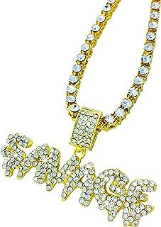Exo Jewel CZ Diamond Bubble Word Savage Gold Pendant with 24