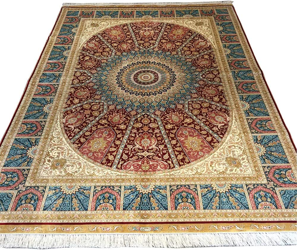 YUCHEN Japan's largest assortment Import CARPET Persian Rug 5.5x8 Red Knotted Oriental Hand Kashan