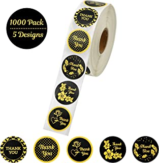 Assorted Gold Thank You Stickers roll 1.5 inch | 1000 Adhesive Thank You Labels per Roll | 5 Unique Designs | Perfect for Graduation,Shipping Envelopes, Business, Birthday & Wedding by AKSHAYA