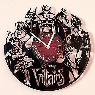 Villains Walt Disney Vinyl Record Wall Clock - Kids Room wall decor - Gift ideas for kids, girls, boys, teens - Cartoon Unique Art Design