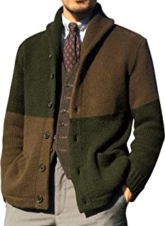 FUERI Mens Knitted Cardigan Knit Jacket Shawl Collar Contrast Colour Knitwear Sweater