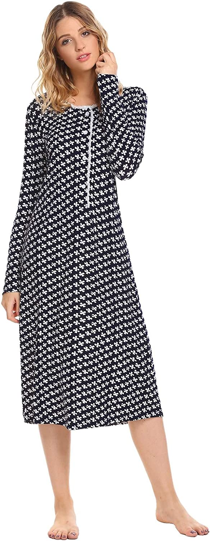 Dozenla Women Long Sleeve Nightgown Round Neck Print Sleepwear Button Nightwear Dress