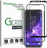 Galaxy S9 Screen Protector Glass, amFilm Full Cover (3D Curved) Tempered Glass Screen Protector with Dot Matrix for...