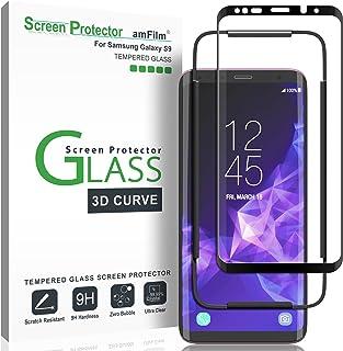 Galaxy S9 Screen Protector Glass, amFilm Full Cover (3D Curved) Tempered Glass Screen Protector with Dot Matrix for Samsun...