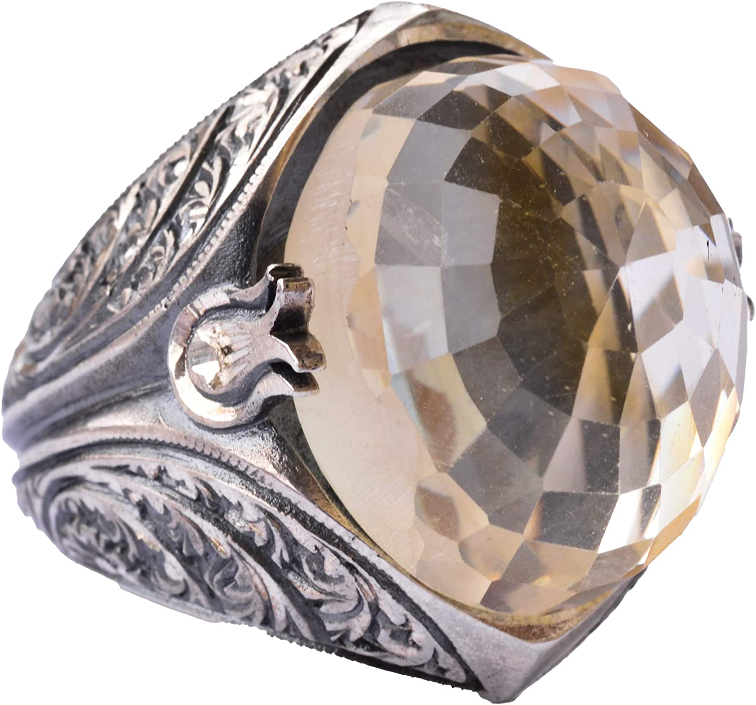 925 Sterling Silver Mens Ring At the price of surprise Steel P Gemstone All items in the store Natural Citrine