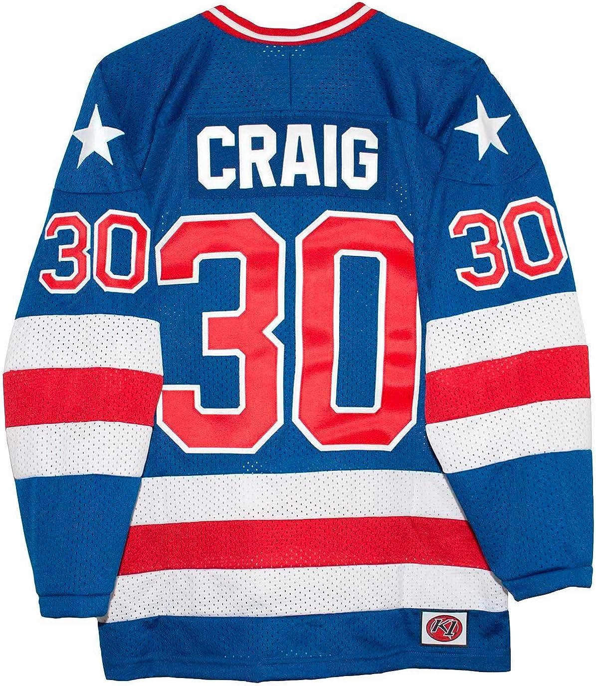 K-1 Sportswear USA Miracle on Ice 1980 Jim Craig Blue Hockey Jersey