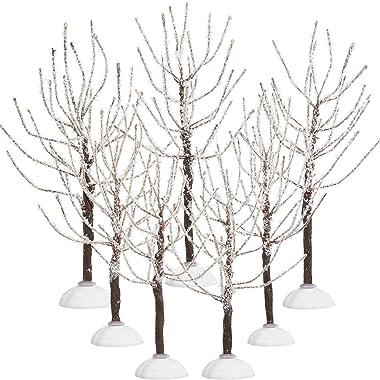 7 Alberi Decorazioni Natalizie, Alberi dei Villaggi Neve Coperta, Alberi Modello Neve Invernale in 2 Dimensioni per Alberi di