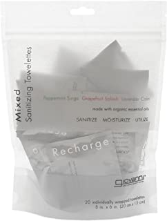 GIOVANNI COSMETICS Mixed Scents Sanitizing Towelettes - Recharge, Relax and Refresh with Peppermint Surge, Lavender Calm or Grapefruit Splash - 20 Individually Wrapped Towelettes (8 Inches x 6 Inches)