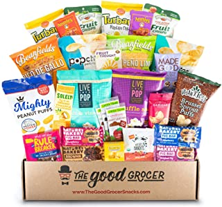 Healthy NON-GMO and VEGAN Snacks Care Package (28 Ct): Featuring delicious, wholesome, nutrient dense vegan snacks. Healthy Office Snacks, Hospital College Student Military Client Gift Box Basket