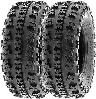 SunF 20x7-8 20x7x8 ATV UTV All Terrain Race Replacement 6 PR Tubeless Tires A027, [Set of 2]