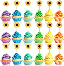 Teemico 48 PCS Sunflower Cupcake Toppers Fruit Picks for Birthday Engagement Party Food Decorations Sun Flower Cake Decoration