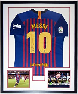 Lionel Messi Signed Authentic Nike Barcelona Jersey - BAS Beckett Authentication Services COA - Professionally Framed 34x42 & Ballon D'Or 8x10 Photo