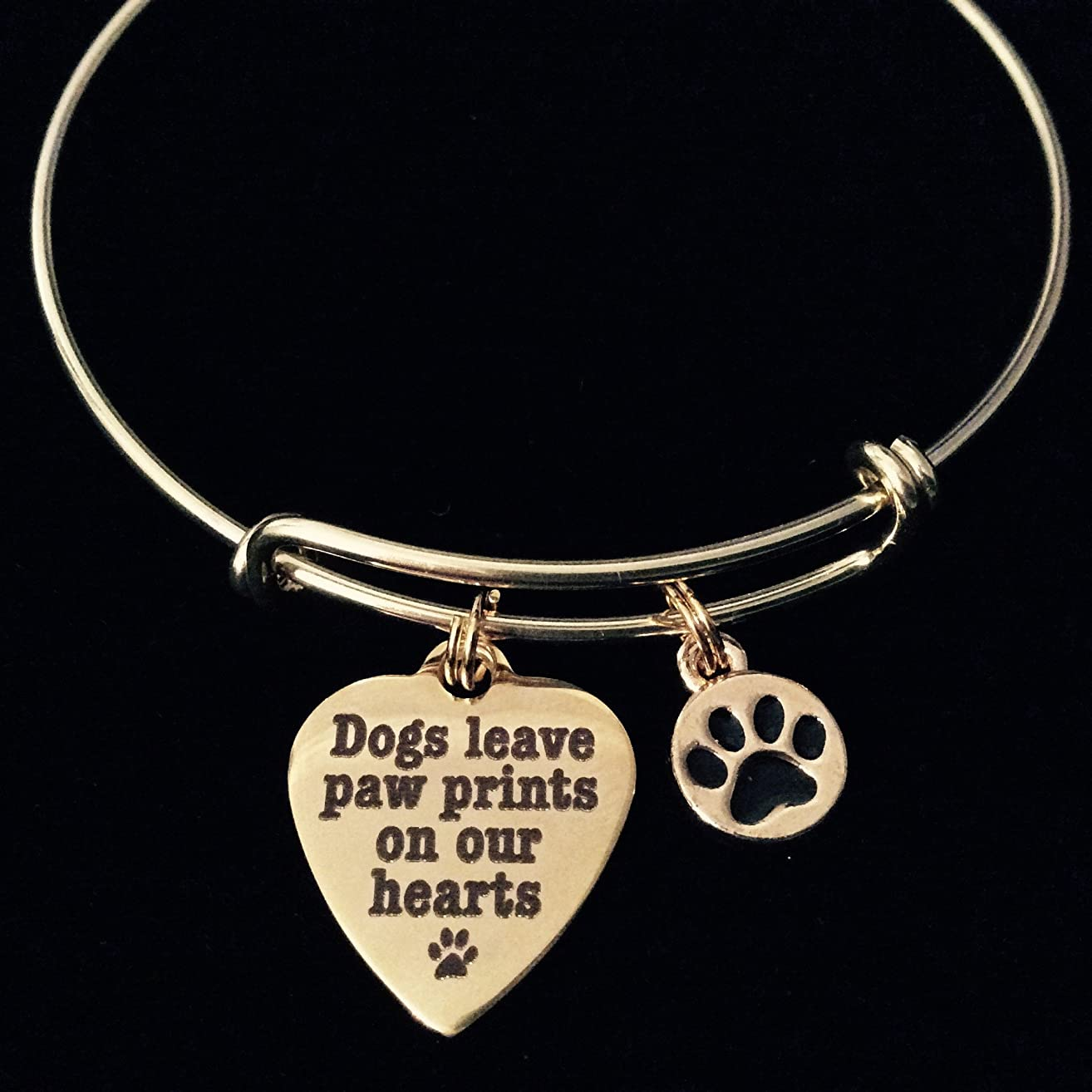 Dogs Leave Paw Prints on our Heart Charm Gold Expandable Adjustable Wire Bangle Bracelet Meaningful Gift Animal Lover Gift