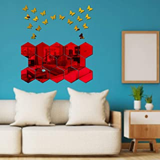Best Decor 14 Hexagon Red with 20 Butterfly Golden Code 259 Acrylic Mirror 3D Wall Sticker Decoration for Kids Room/Living...